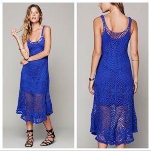 Free People Sunny Day Crochet Tank Dress in Blue S